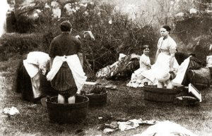 A image showing women in Babbington village doing their washing.