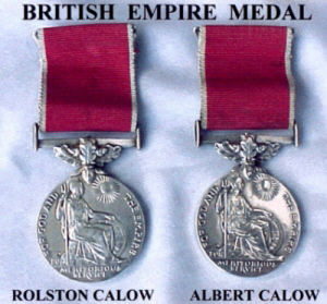 Two images, front and rear of the British Empire Medal (BEM).