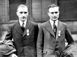 Two real village heroes. These are the Calow brothers who entered the burning Halifax 'plane in a courageous effort to rescue the trapped airmen.