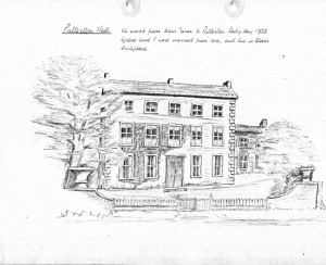 A sketch of Palterton Hall drawn by the late Cornelius Turner b.5 March 1913. It is dated c.1980s. Cornelius lived at the Hall for many years, married his wife Grace from here and their eldest son Alan was born here.