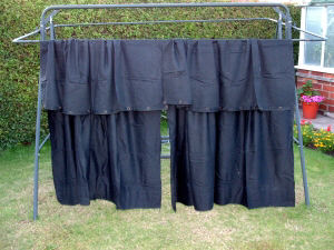 An image of a pair of black curtains that were used during WW2. Acknowledgement to Alan Radford of Rotherham who has carefully preserved these curtains that were given to him by his late grandmother.