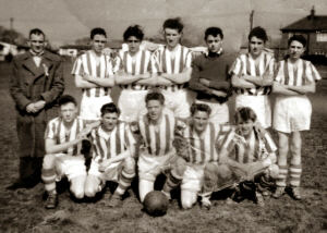 An image of Hillstown F.C. - 1956-57, winners of the Junior section of the Derbyshire Medals. Image courtesy of Ms. Emma West.