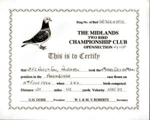 This is a copy of a 1994 certificate issued to F.S.Riley & Son, for 4th. place in a pigeon race of 311 miles 32 yards from Fraserburgh to Fred Rileys' pigeon loft in Platerton.