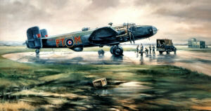 Another photograph of a Halifax Bomber. The box in the foreground states RCAF. From a painting Canadian Halifax by John Rayson G.AV.A.