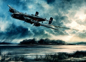 A photograph of a Halifax Bomber dated 12 April 1944, less than 6 weeks before the crash subject of my story. From a painting Just in Time (77 sqdn.) by John Rayson G.AV.A.