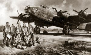 This photograph shows a Halifax Bomber with a Canadian crew. From a painting by John Rayson G.AV.A. 420 Squadron R.C.A.F.