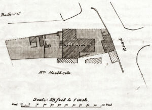An image showing the plan of the Nags Head Inn at the time of this conveyance (3 December 1925). Note the name Bathurst referring to Earl Bathurst a former large landowner in Palterton. Also Mrs Heathcote, owner of adjoining cottages to the south of the Inn.
