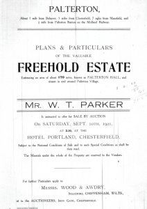 A copy of the front page of the sale catalogue dated 10 September 1921.
