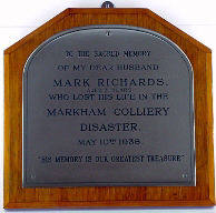 The Mark Richards memorial plaque