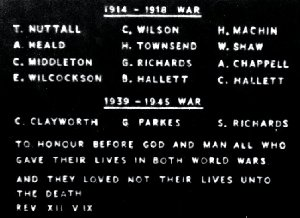 Image of the replaced plaque on the Palterton War Memorial.