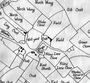 A plan showing part of Riley/Rylah as copied from the Tithe Map of 1849/50. Rylah Farm is the three tiny black squares. Part of the farm is the two tiny black squares in the nearby Croft