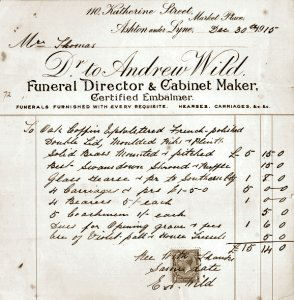 An copy image of original funeral invoice for Samuel Thomas. Note the wording thereon. Image courtesy of Mrs Jill Cox.