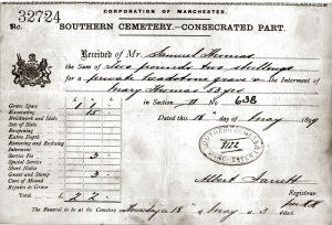 An copy image of original funeral invoice for Mary Thomas, wife of Samuel Thomas.  Image courtesy of Mrs Jill Cox.