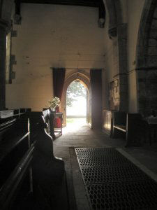 A modern (2004) image showing part of the interior of Strelley Parish Church. It was similar in the early 1800s.